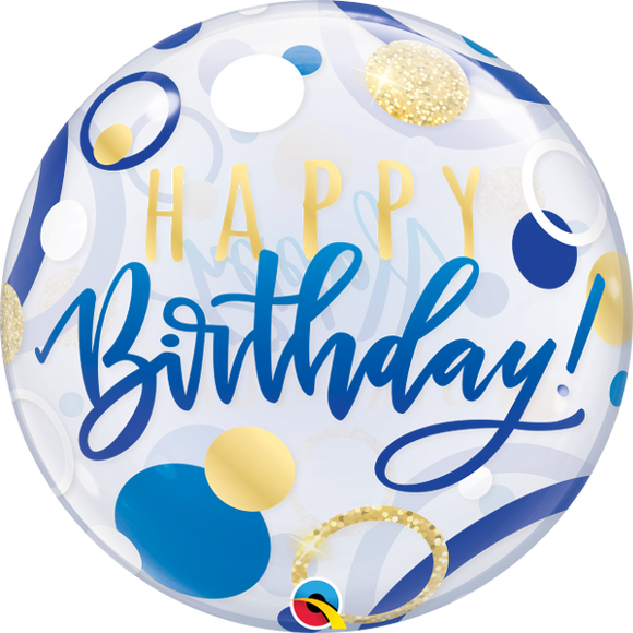 Happy Birthday Blue And Gold Dots Helium Filled Single Bubble Balloon