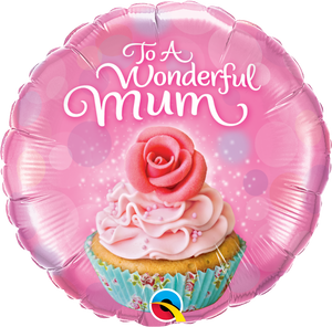 To A Wonderful Mum Cupcake Helium Filled Foil Balloon