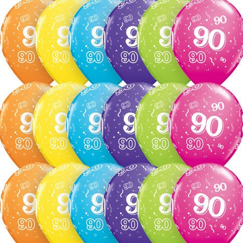90 Around Tropical Latex Balloons In Assorted Colours x10 (Sold loose)