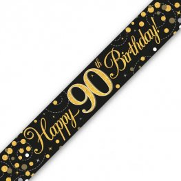 Happy Birthday 90th Sparkling Fizz Black And Gold Banner