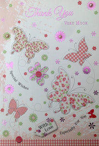 Thank You Very Much Butterflies Greeting Card