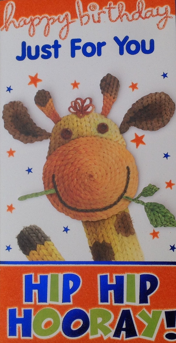Happy Birthday Just For You Giraffe Greeting Card