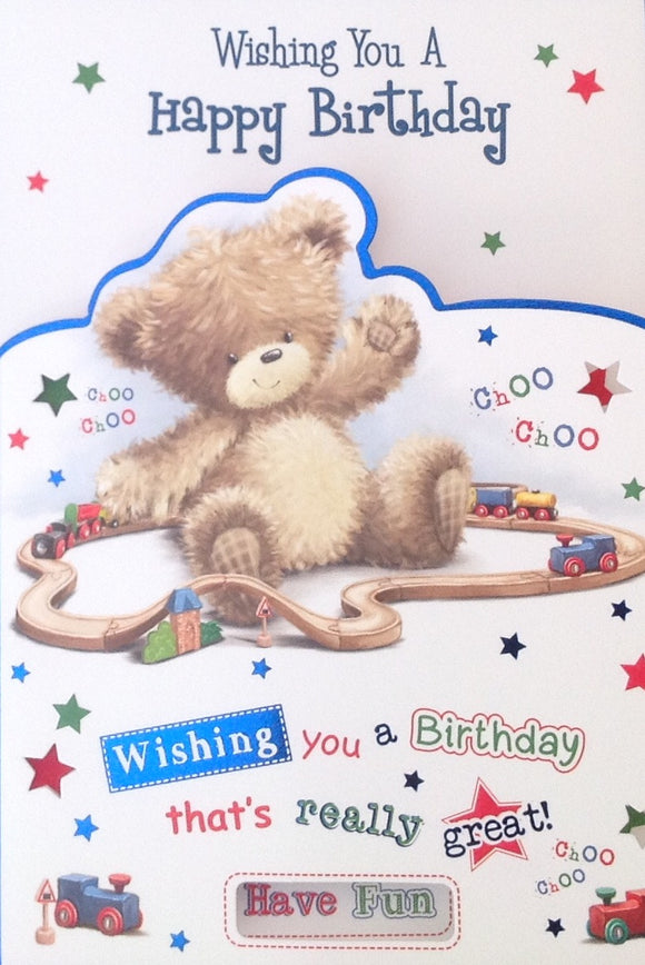 Wishing You A Happy Birthday Teddy And Trains Greeting Card
