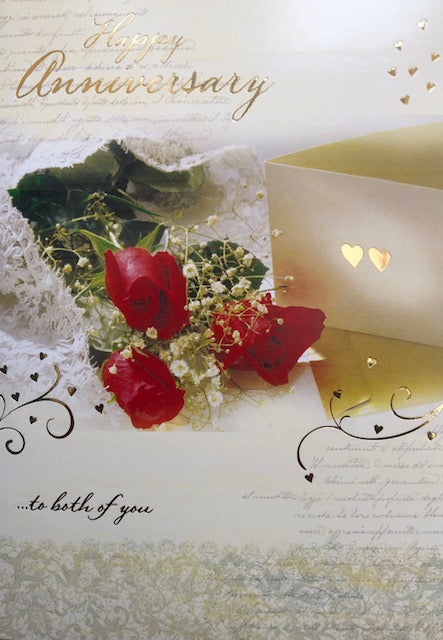 Happy Anniversary To Both Of You Roses Greeting Card