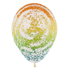 Crystal Clear Rainbow Graffiti Latex Balloon (Sold loose)