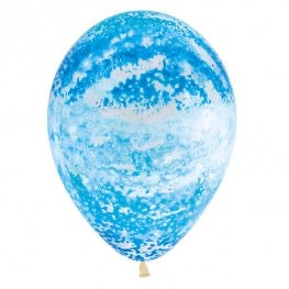 Crystal Clear Sky Blue Graffiti Latex Balloon (Sold loose)