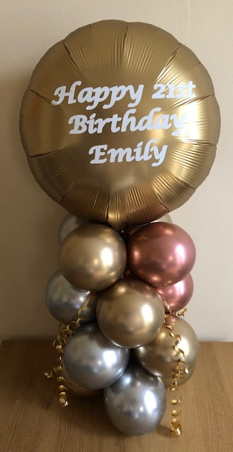 Double Sided Satin Luxe Personalised Air Filled Table Decoration Available In A Choice Of 3 Colours