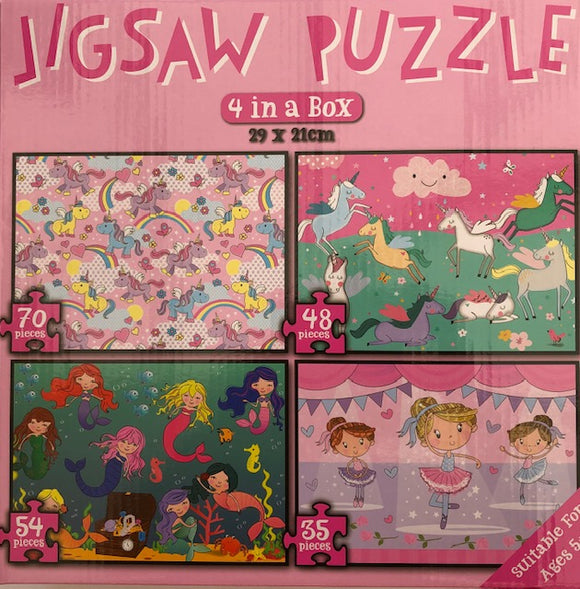 4 Jigsaw Puzzles In A Box (Unicorns/Rainbows, Mermaids, Ballerinas and Unicorns)