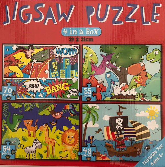 4 Jigsaw Puzzles In A Box (Pirates, Dinosaurs, Jungle Animals & Comic Strip)