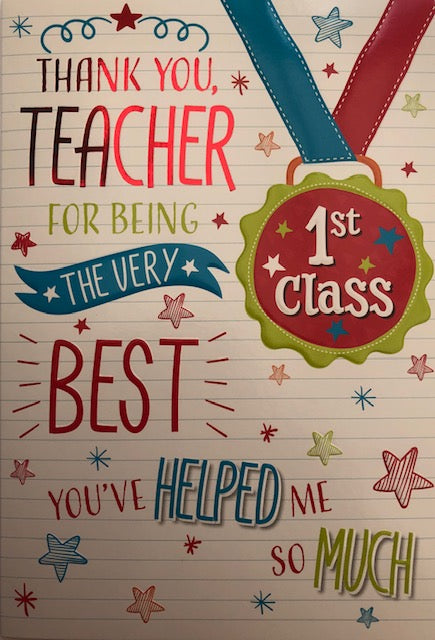 Thank You Teacher 1st Class Greeting Card