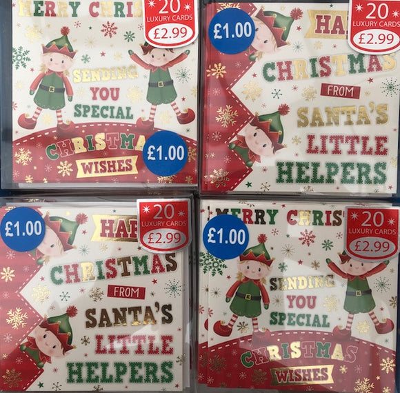 Elf Christmas Greeting Cards (Pack of 20)