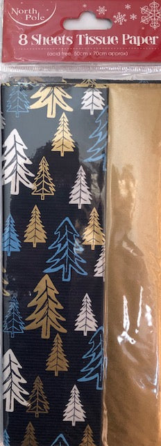 Christmas Trees/Gold Tissue Paper (8 Sheets)