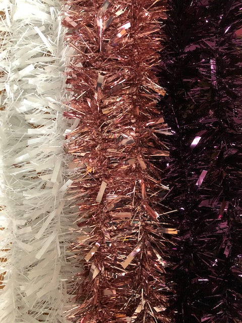 Christmas Tinsel (White, Rose Gold or Deep Purple)