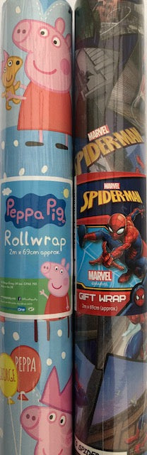 Peppa Pig And Spiderman Wrapping Paper 2m