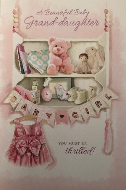 A Beautiful Baby Grand-Daughter New Baby Greeting Card