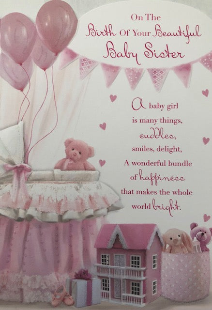 On The Birth Of Your Beautiful Baby Sister New Baby Greeting Card