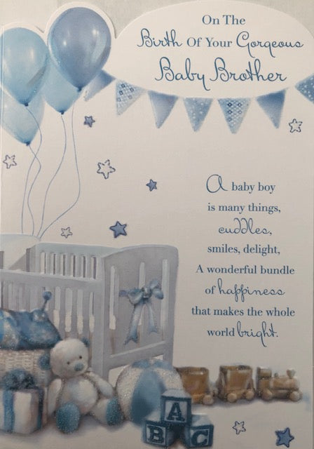 On The Birth Of Your Gorgeous Baby Brother New Baby Greeting Card