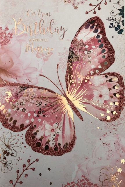 On Your Birthday Butterfly Greeting Card