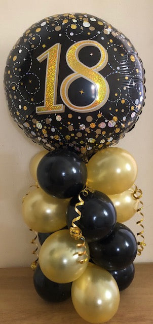 Sparkling Fizz Black And Gold Air Filled Table Decoration Available In Milestone Ages From 18-90 And Happy Birthday