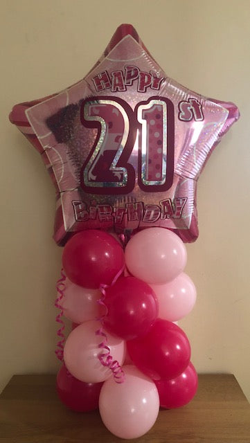 Pink Glitz Air Filled Table Decoration Available In Milestone Ages From 13-90 And Happy Birthday