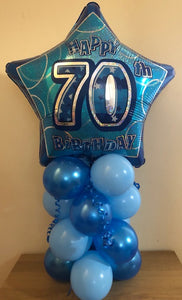 Blue Glitz Air Filled Table Decoration Available In Milestone Ages From 13-90 And Happy Birthday