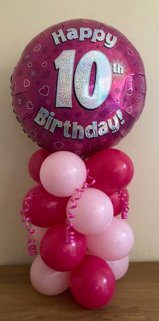 Pink Birthday Air Filled Table Decoration Available In Children's Ages From 1-17 And Happy Birthday