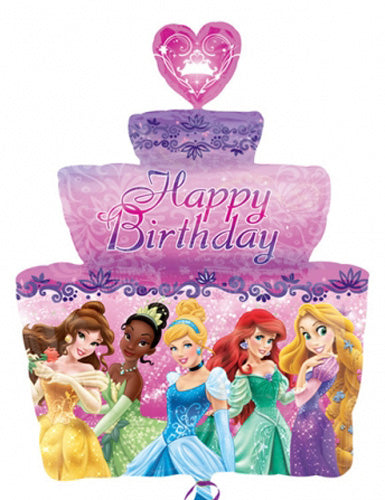 Disney Princess Happy Birthday Cake Supershape Helium Filled Foil Balloon