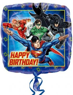 Justice League Happy Birthday Helium Filled Foil Balloon