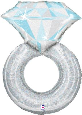 Platinum Ring Supershape Helium Filled Foil Balloon