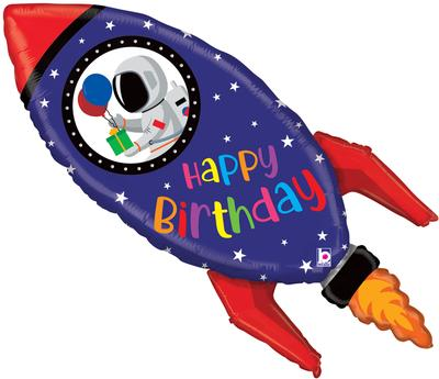 Rocket Happy Birthday Helium Filled Supershape Foil Balloon