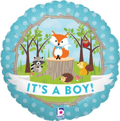 Woodland It's A Boy Helium Filled Foil Balloon