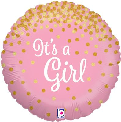 Glittering It's A Girl Helium Filled Foil Balloon