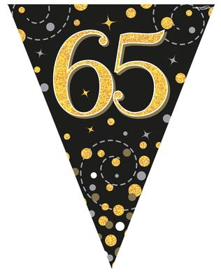 65th Birthday Sparkling Fizz Black And Gold Party Bunting