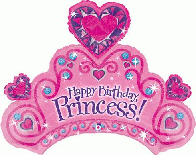 Happy Birthday Princess Crown Helium Filled Supershape Foil Balloon