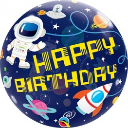 Happy Birthday Space Helium Filled Single Bubble Balloon