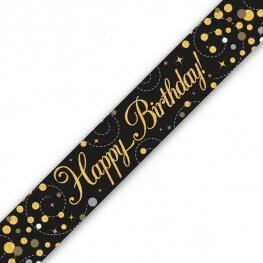 Happy Birthday Sparkling Fizz Black And Gold Banner
