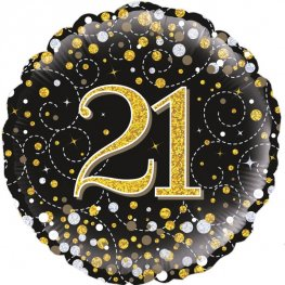 21st Sparkling Fizz Black And Gold Helium Filled Foil Balloon