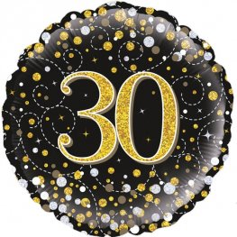 30th Sparkling Fizz Black And Gold Helium Filled Foil Balloon