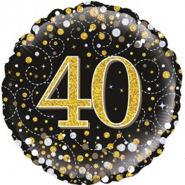 40th Sparkling Fizz Black And Gold Helium Filled Foil Balloon