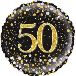 50th Sparkling Fizz Black And Gold Helium Filled Foil Balloon