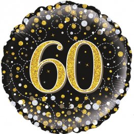 60th Sparkling Fizz Black And Gold Helium Filled Foil Balloon