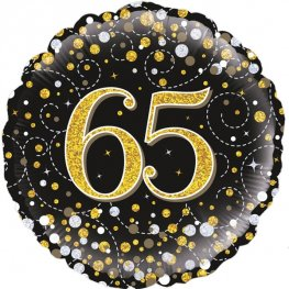 65th Sparkling Fizz Black And Gold Helium Filled Foil Balloon