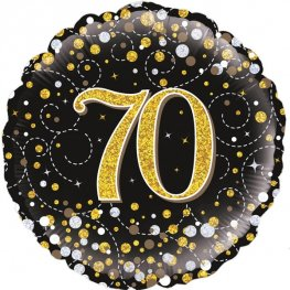 70th Sparkling Fizz Black And Gold Helium Filled Foil Balloon