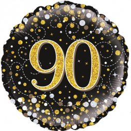 90th Birthday Sparkling Fizz Black And Gold Helium Filled Foil Balloon