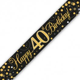 Happy Birthday 40th Sparkling Fizz Black And Gold Banner