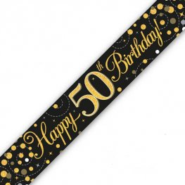 Happy Birthday 50th Sparkling Fizz Black And Gold Banner