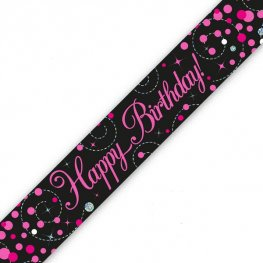 Happy Birthday Sparkling Fizz Black And Pink Banner