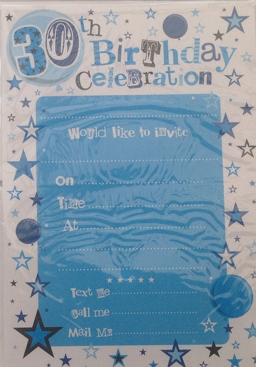 Blue 30th Birthday Invitations And Envelopes (20 Pack)