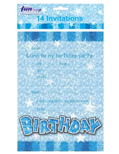 Blue Birthday Party Invitations And Envelopes (14 Pack)