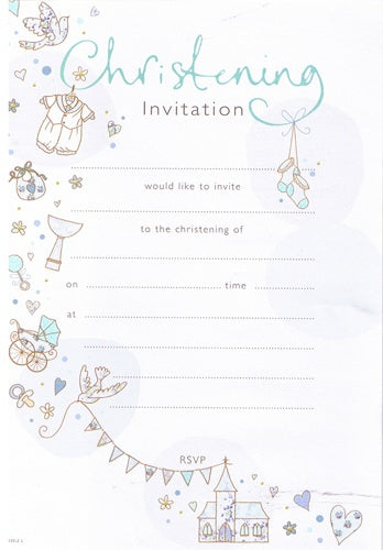 Blue Christening Invitations And Envelopes (20 Pack)